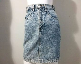 Vintage High Waisted Skirt Acid Wash Denim - R.G. Brown's Blue Jeans - Size Small