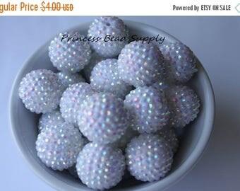 SALE Big 24mm White AB Rhinestone Chunky Beads Set of 6,  24mm Focal Bead, Bubble Gum Beads, Gumball Beads, Acrylic Beads