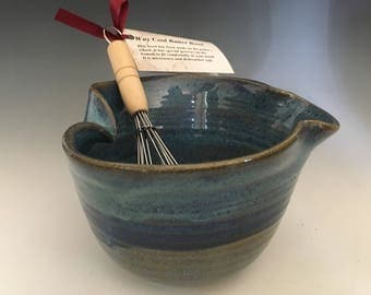 Pottery Blue Colors Mixing Bowl, Ergonomic Pottery Batter Bowl, Blue Mixing Bowl, Ceramic Bowl with Whisk, Gift for Aspiring Chef.