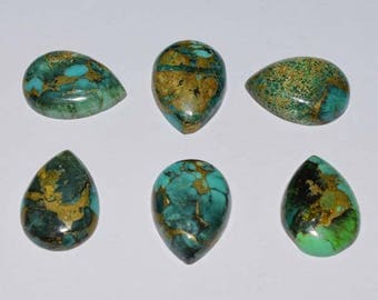 ME-0012 Gorgeous Copper Turquoise Pear Cabochon Size 12X16mm Pack of 6 Pieces Weight 45 carat 100% genuine and natural stone