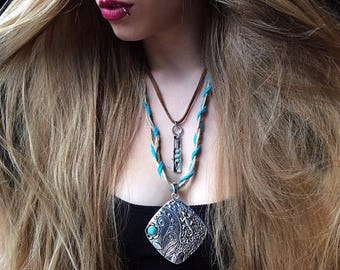 Bohemian jewelry, Boho layered necklace, Coachella jewelry, tribal jewelry, boho silver jewelry, turquoise jewelry, leather necklace, teens