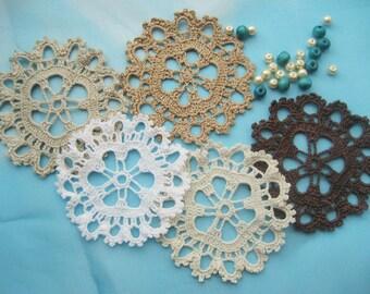 5 x Crochet Mini Doilies Handmade Crochet Embellishment Small Crochet Doilies Crochet Flowers Appliques - set of 6 Scrapbook Craft Doily