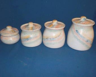Hand Made Ceramic Canister Set, Vintage, Four Piece, 1980's