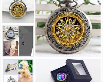 Wearable Art Charm Clothes Clock Necklace,Stained Glass Ceremonial Pocket Watches Chain