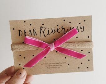 Small velvet bow [ hot pink ]