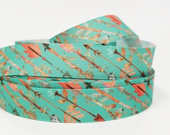 "7/8""  inch Arrows on mint blue mint green   -  Printed Grosgrain Ribbon for Hair Bow - Original Design"