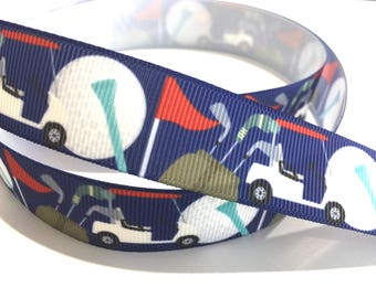 7/8 inch Golf ball, Golf Cart on Blue Printed Grosgrain Ribbon for Hair Bow, Key chain Key fob Lanyard - Original Design