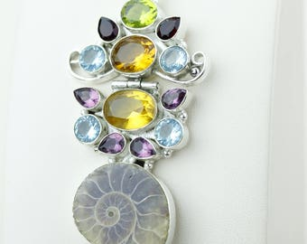 All in One! Ammonite Fossil Peridot Citrine Garnet Blue Topaz Amethyst 925 S0LID Sterling Silver Pendant + 4MM Snake Chain p4143