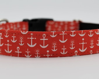 Anchors Dog Collar, Anchor Dog Collar, Orange Red Dog Collar, Custom Dog Collar, Adjustable Dog Collar, Wedding Dog Collar, Boy Dog Collar