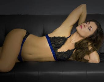 Luxury lingerie handmade in England. Chantilly lace and luxury silk soft cup designer bralet