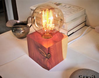 Burgandy red cedar table lamp. IN-LINE DIMMER switch.  Edison old world style bulb