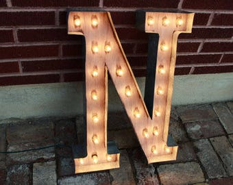 """48"""" and 36""""  Letters Marquee Signs Rustic Marquee lighting w/ Metal, Wood, Vintage Light Bulb Letter Sign Wall Light"""