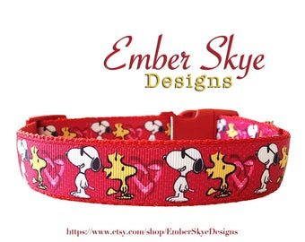 "Snoopy And Woodstock (Red) Adjustable Dog Collar 1"" Width"