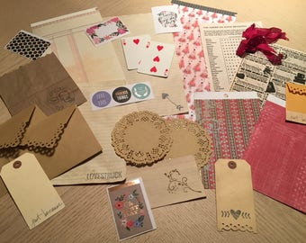 "Journal, Scrapbook, Junk Journal Accessory Kit ""VALENTINE"" Moments (27 Pieces)"