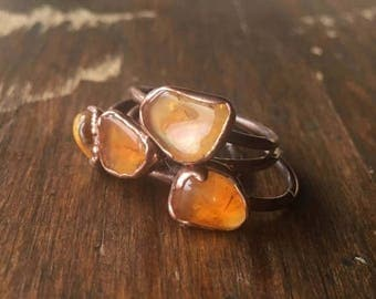 ON SALE Citrine Ring and Electroformed Copper | Citrine Ring | November Birthstone | Electroformed Citrine Ring | Birthstone Ring