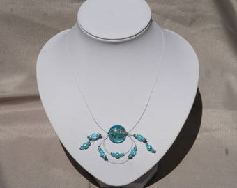 Blue necklace, wedding or ceremony