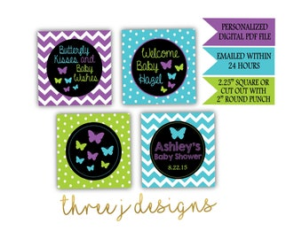Butterfly Baby Shower Personalized Cupcake Toppers - Purple, Teal and Green - Digital File - J006