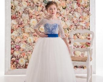 White Navy Flower Girl Dress -- White Navy Floor Length Tulle Dress