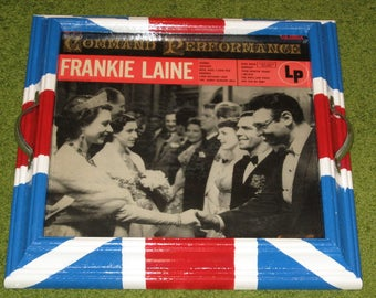 Recycled Picture Frame Vintage Record Album Cover Tray Art - Frankie Laine singer, British, Queen Elizabeth, Union Jack, red white blue