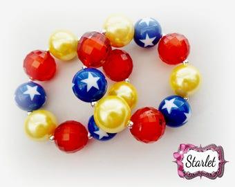 New!! Wonder Woman Bubblegum Bracelet, Chunky Bracelet, Birthday Gift, Party Favor