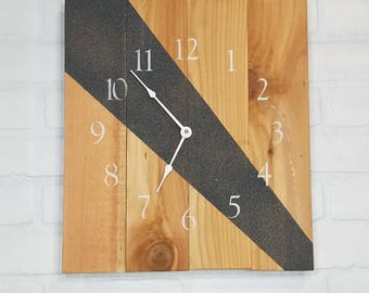 Large Wood Wall Clock - Dark Beam