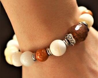 White bracelet shellstone, fossil stone, agate