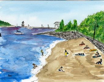 Original Watercolor Painting - Plein Air Art - Portland, Maine Beach Painting - Small affordable art - Home decor