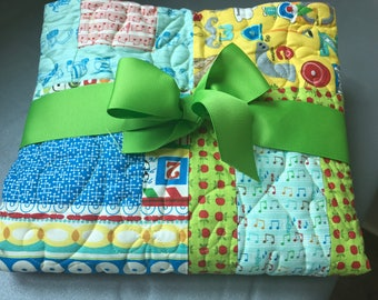 Baby boy quilt, primary colors quilt, animal baby quilt, tools guitar baby quilt, cars trucks airplanes baby quilt