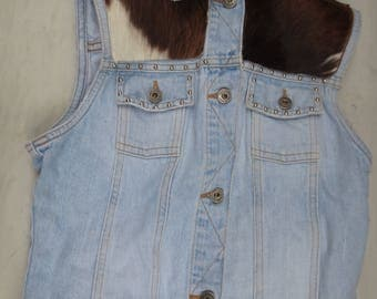 Vintage Guess Denim Vest w/ Cowhide Patches and Studs Size L Large or Medium Made in USA -Rare-