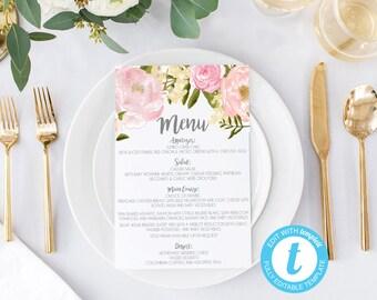 Wedding menus, printable wedding menus, wedding menu, wedding menu template, wedding menu cards, bridal shower menus, Baby shower menus