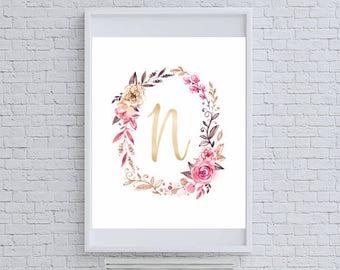 "Floral Gold Glitter Monogram ""N"" Art Print"