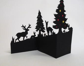 Three Dimensional Hand Cut Reindeer in Forest Christmas Card