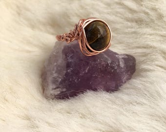 Tiger's Eye wire wrapped ring - copper ring - wire wrapped jewelry handmade - wire jewelry -