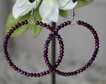 Beaded Super Hoop Earrings, Purple AB Glass Beads, Fashion Earrings