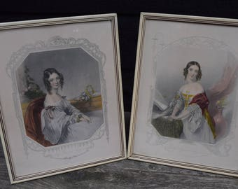 Pair of 1940s Framed Vintage David Ashley Victorian Lady Engraved Prints