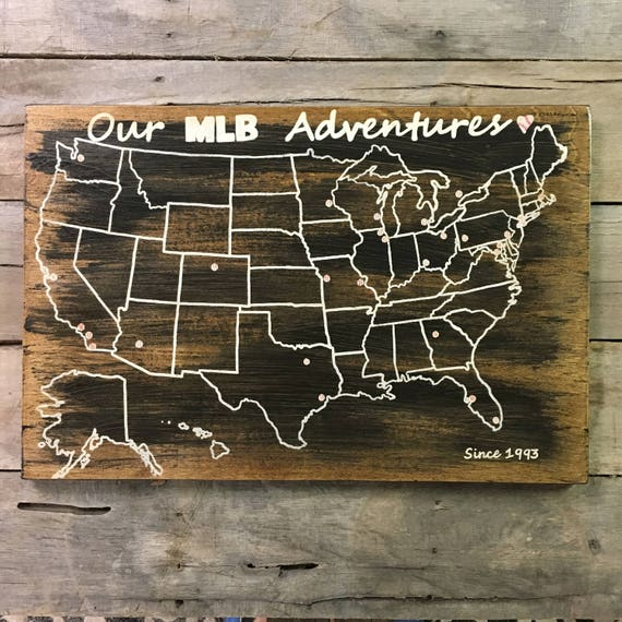 Baseball Travel Map US Wood Map USA Travel Map MLB - Mlb us map