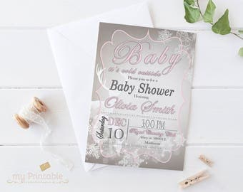 Baby Shower Winter Theme Invitation / Digital Printable Invite / DIY Party