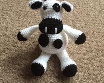 Handmade crochet cow toy, plush crochet cow, crochet toy