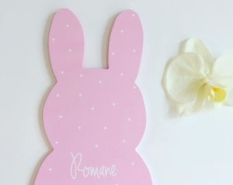 Pink and white Bunny customizable to the wall