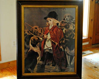 """Framed Print, Charles Burton Barber """"The New Whip"""", Vintage Print of a Girl and Her Dogs, Children and Dogs, Victorian Era  Art"""