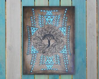 Ethnic original mandala painting - blue tree - house of Diwan - 27 - painting