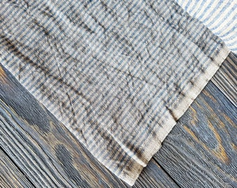 Washed blue striped linen fabric by the meter, tissu au metre flax fabric with stripes, striped stonewashed linen fabric by the yard 200GSM