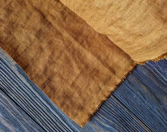 Washed mustard linen fabric by the meter, softened natural linen rust yellow fabric, washed bright yellow linen fabric by the yard 7oz
