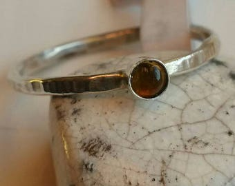 Silver Stacking Ring with 3mm Round Citrine  Size 6.75 (M-N) - Postage Included