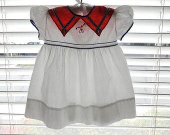 Vintage 1950s Red White  and Blue Cotton  Infant Baby Toddler Dress
