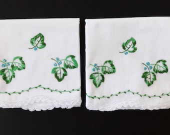 Pair Vintage White Cotton Pillowcases Pillow Cases w/Embroidered Leaves & Crocheted Edging