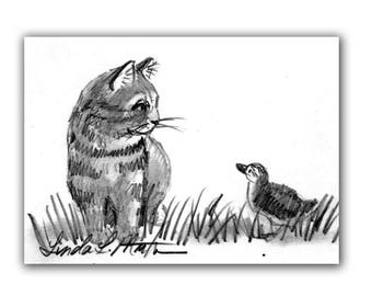 Baby Nursery Duckling Duck New Mom Kitten Original Drawing llmartin ACEO Cat Collectible Free USA Shipping