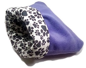 """Small 16"""" x 18"""" purple pawprint dog bed or cat bed, plush, reversible, 3 layers"""
