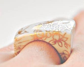 Porcelain jewelry,porcelain ring, golden,gold flower,ceramic jewelry,porcelain,ring,Wedding & Engagement, 18k gold luster, gift for her