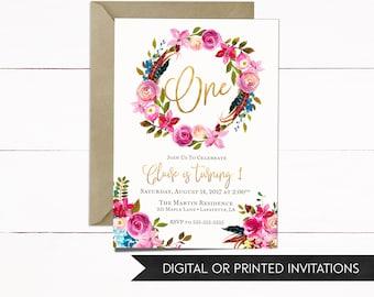 Girl Invitation, Girl Birthday Invitation, Floral Invitation, Boho Invitation, Birthday Invitation, Girl Birthday, 1st Birthday, 2nd, 3rd